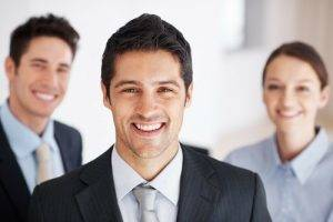 Team of office workers smiling